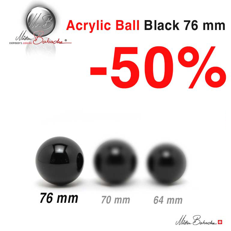 Acrylic Ball Black- 76 mm